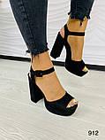 Женские босоножки на высоком устойчивом каблуке 12 см супер колодка черные, фото 3