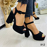 Женские босоножки на высоком устойчивом каблуке 12 см супер колодка черные, фото 5