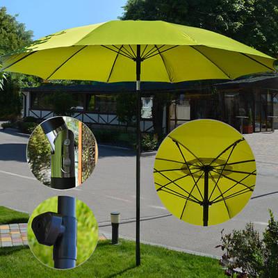 Усиленный пляжный зонт 2.7 м / Складной большой зонт с наклоном от солнца для пляжа и сада Салатовый