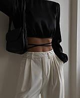 Шелковый женский топ с завязками на талии