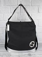 Сумка-рюкзак женская текстильная черная с серебром 1648