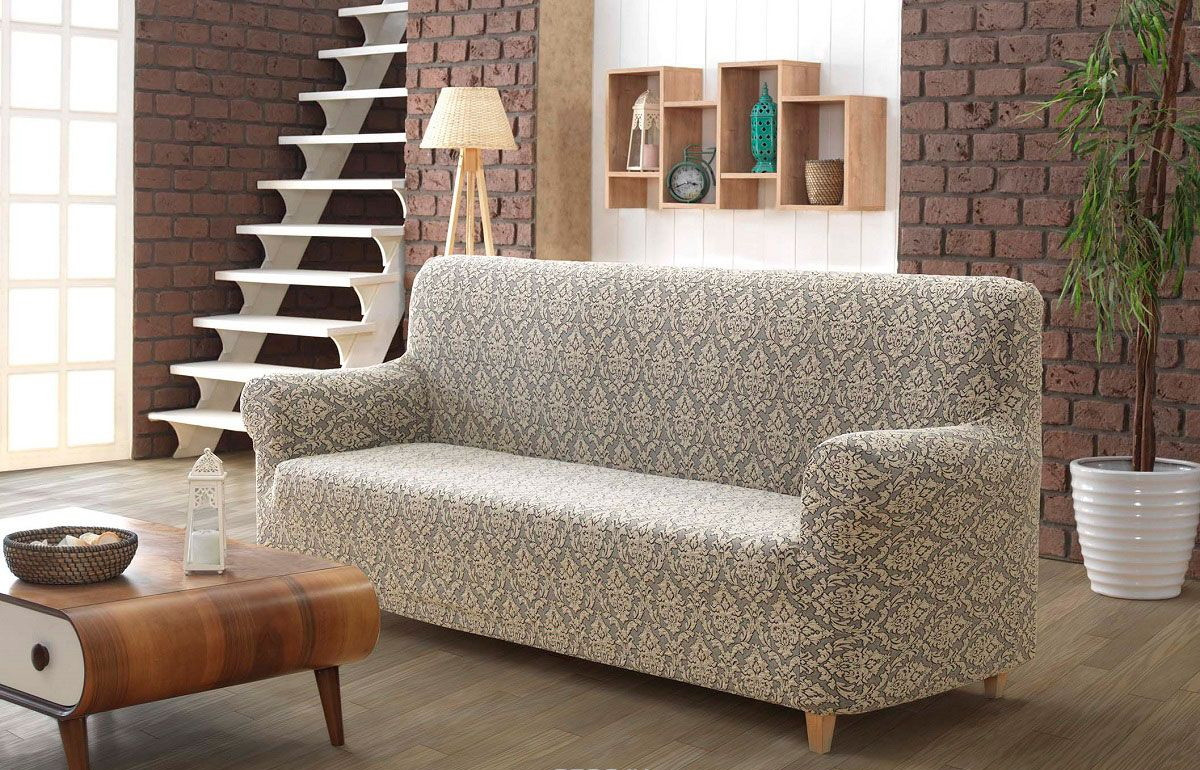 Жакардовий чохол на диван бежевий