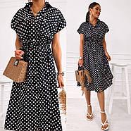 Сукня жіноча з котону довжиною міді на ґудзиках з коротким рукавом, фото 3