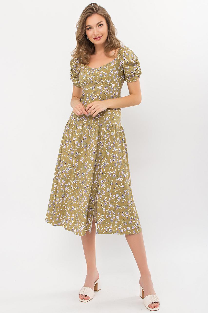 Женское летнее платье миди в мелкий цветочек