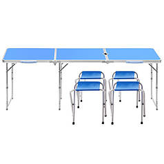 Стол складной Lanyu L-3-U Blue с 4 стульями и отверстием для зонта туристический для пикника