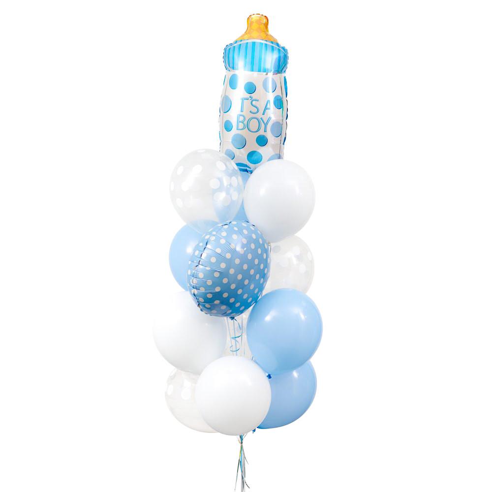 Фонтан из круга и бутылочки голубых в горошек, 5 белых, 5 голубых и 4 прозрачных шаров в белый горошек