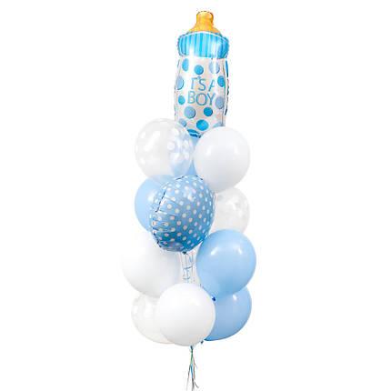 Фонтан из круга и бутылочки голубых в горошек, 5 белых, 5 голубых и 4 прозрачных шаров в белый горошек, фото 2