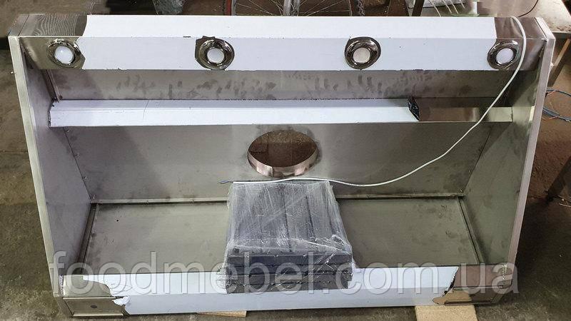 Зонт пристенный 1600х800х400 мм из нержавеющей стали с подсветкой