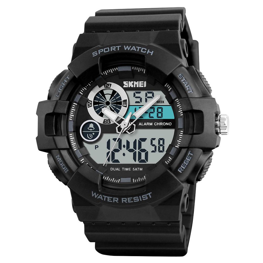 Skmei 1312 черные мужские спортивные часы