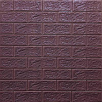Стінова 3D панель, м'яка, самоклеюча, декоративна 3д самоклейка шпалери під цеглу кольору баклажан-кава