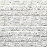 Стінова 3D панель, м'яка, самоклеюча, декоративна 3д самоклейка шпалери під цеглу Білий 700х770х7мм