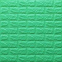 Al Стеновая 3D панель, мягкая, самоклеющаяся, декоративная 3д самоклейка обои под кирпич Мятный 700x770x7мм