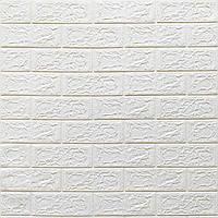 Go Стеновая 3D панель, мягкая, самоклеющаяся, декоративная 3д самоклейка обои под кирпич Белый 700х770х5мм