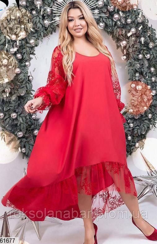 Женское платье XL красного цвета с кружевными рукавами универсального размера 48-60