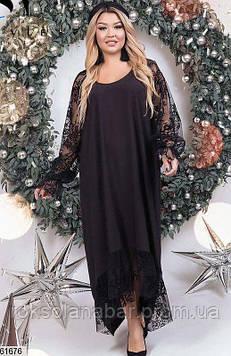 Жіноча сукня XL чорного кольору з мереживними рукавами універсального розміру 48-60