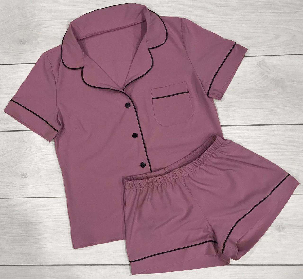 Лиловый домашний пижамный костюм Рубашка шорты