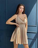 Платье мини женское красивое с оголенной спиной и пышной юбкой из шелка Армани Smm4584