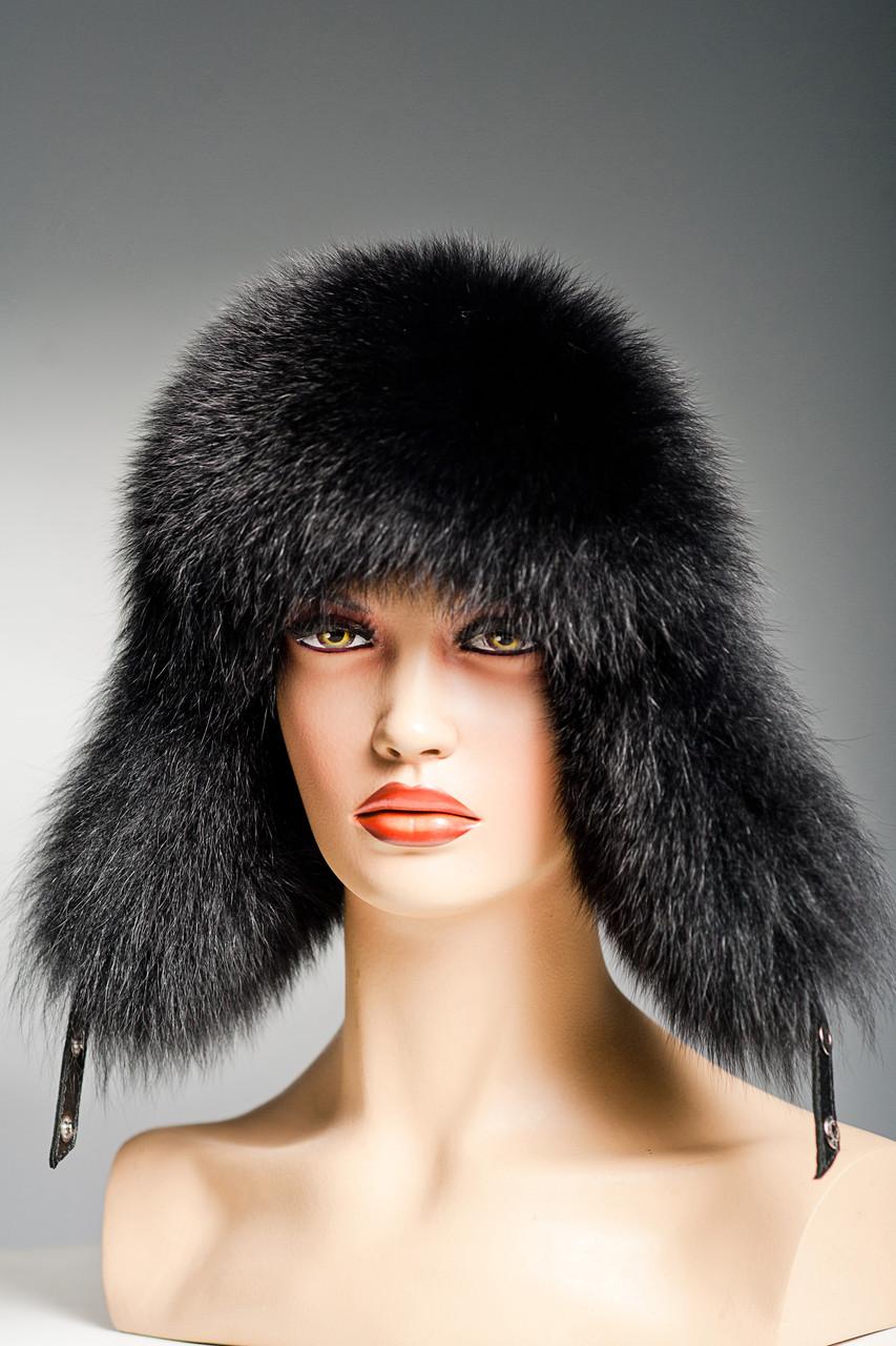 Меховая шапка ушанка женская из песца Зимушка.(черная) f053461c38a1a