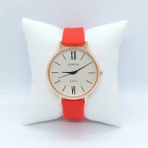 Жіночі наручні годинники Geneva Silicone Red-Gold-White Годинник з силіконовим ремінцем 1010-0197