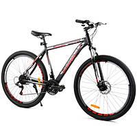 """Горный велосипед спортивный взрослый мужской 29"""" дюймов 21 скорость рама стальная 20"""" Corso Черный (58585)"""