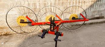 Граблі ворушилки Сонечко до мінітракторів на 3 колеса, спиця 6 мм (ГСТ6-3)