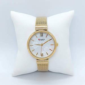 Жіночі наручні годинники Curren 9067 Gold-White Стильні годинники Кварцові жіночі годинники в золотому кольорі
