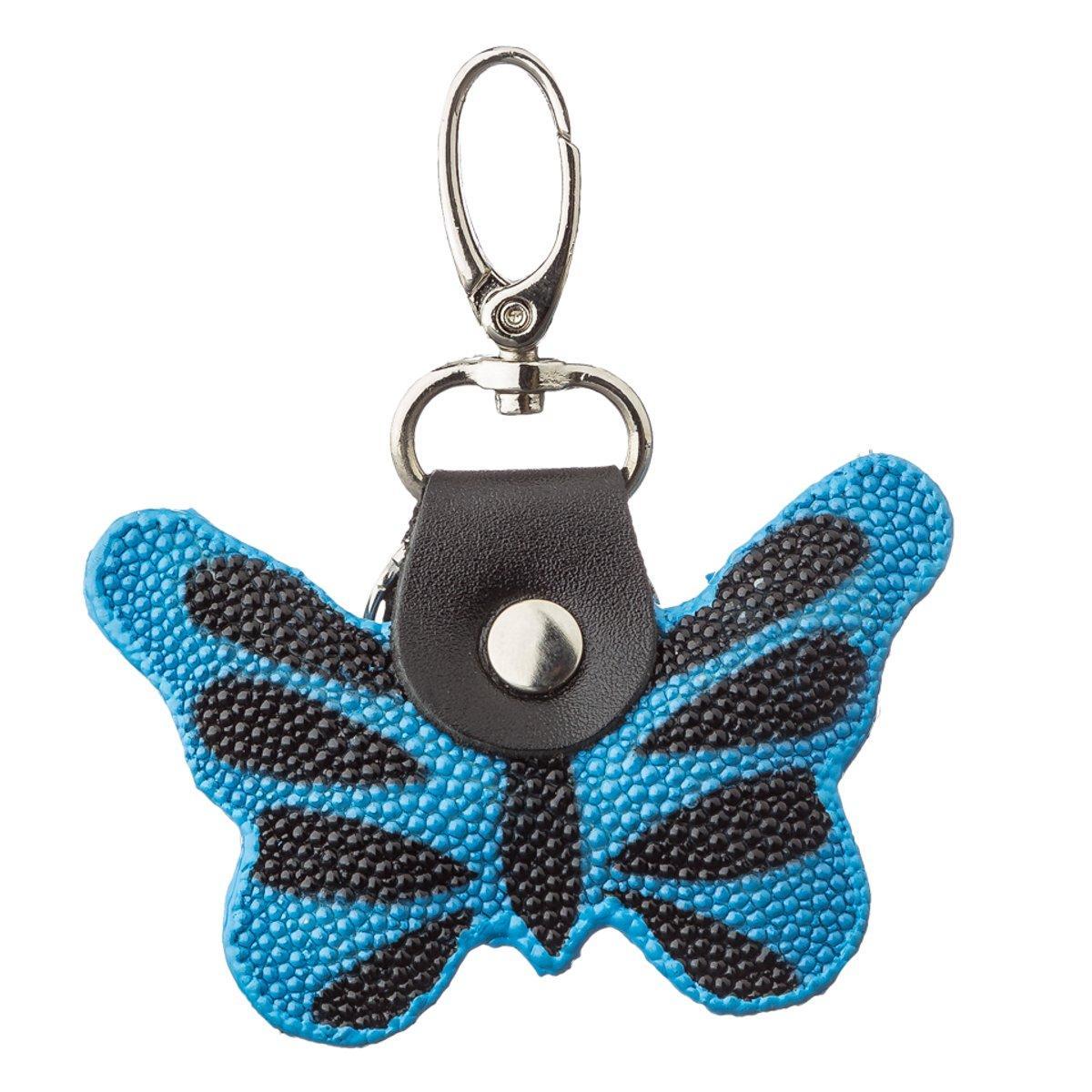 Брелок сувенір метелик STINGRAY LEATHER 18537 з натуральної шкіри морського скату Синій