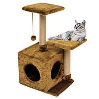 Домик-когтеточка с полкой Маруся 43х33х75 см (дряпка) для кошки Коричневый, фото 1
