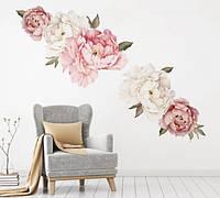 Интерьерная виниловая декоративная наклейка на стену 3D Пионы FX64095