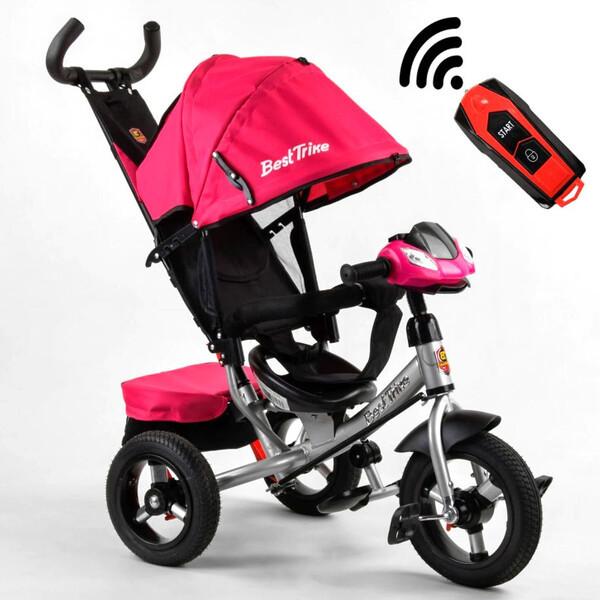 Коляска-велосипед для дівчинки дитячий триколісний з ручкою і фарами Best Trike 1-3 роки Рожевий (58561)