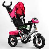 Коляска-велосипед для дівчинки дитячий триколісний з ручкою і фарами Best Trike 1-3 роки Рожевий (58561), фото 3