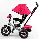 Коляска-велосипед для дівчинки дитячий триколісний з ручкою і фарами Best Trike 1-3 роки Рожевий (58561), фото 4
