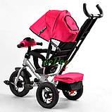 Коляска-велосипед для дівчинки дитячий триколісний з ручкою і фарами Best Trike 1-3 роки Рожевий (58561), фото 5