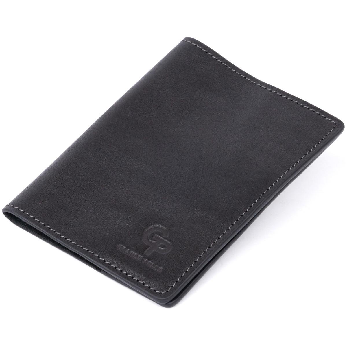 Обкладинка для паспорта з натуральної шкіри GRANDE PELLE 11304 Чорна