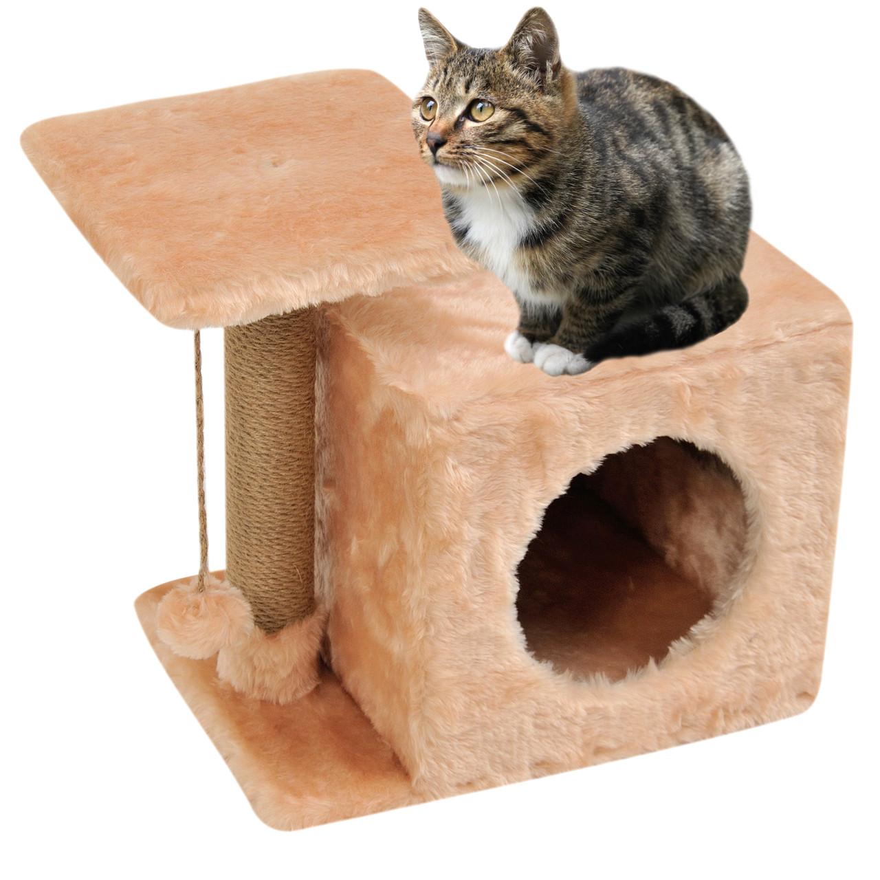 Домик-когтеточка с полкой Милана 43х33х45 см (дряпка) для кошки Бежевый