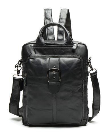 Сумка-рюкзак 2 в 1 мужская кожаная вертикальная с хлястиком Vintage 14790 Черная