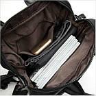 Сумка-рюкзак 2 в 1 мужская кожаная вертикальная с хлястиком Vintage 14790 Черная, фото 5