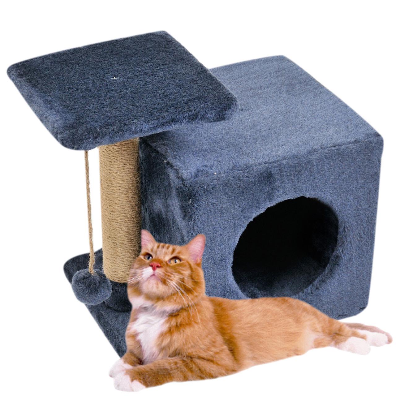 Домик-когтеточка с полкой Милана 43х33х45 см (дряпка) для кошки Синий