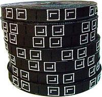 Этикетка вшивная (размер ткань вышивка) чёрная 1см