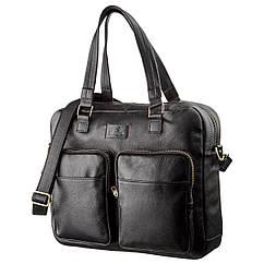 Чоловіча шкіряна ділова сумка-портфель для ноутбука SHVIGEL 19108 Чорна