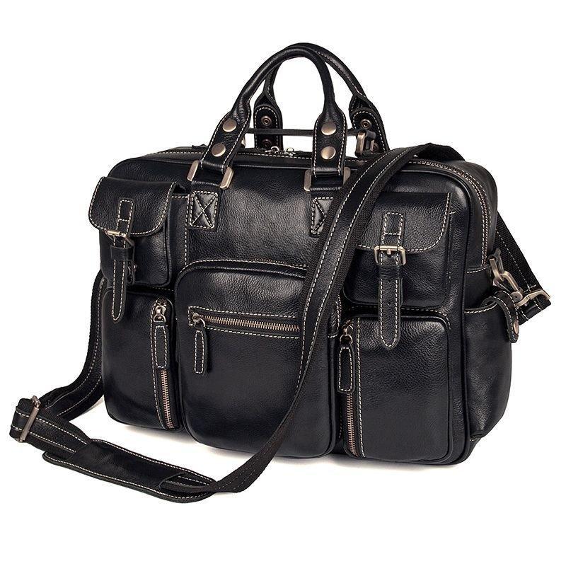 Багатофункціональна сумка з натуральної шкіри Vintage 14204 Чорна
