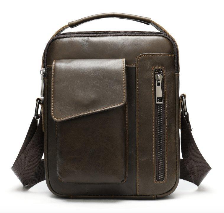 Шкіряна чоловіча сумка Vintage 20095 Коричнева