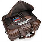 Сумка мужская Vintage 14371 для ноутбука 17 дюймов Коричневая, фото 6