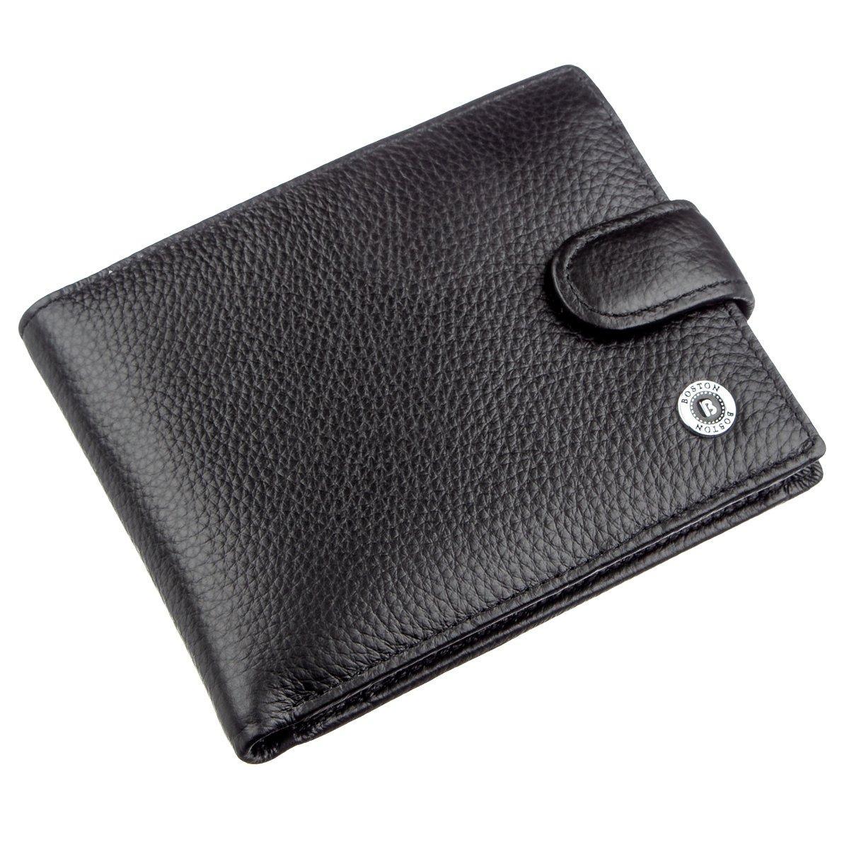 Кожаный кошелек для мужчин Boston 18820 Черный