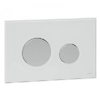 Панель смыва с двумя клавишами стеклянная TECE TECEloop 9.240.659 стекло белое, клавиши хром матовый, фото 1