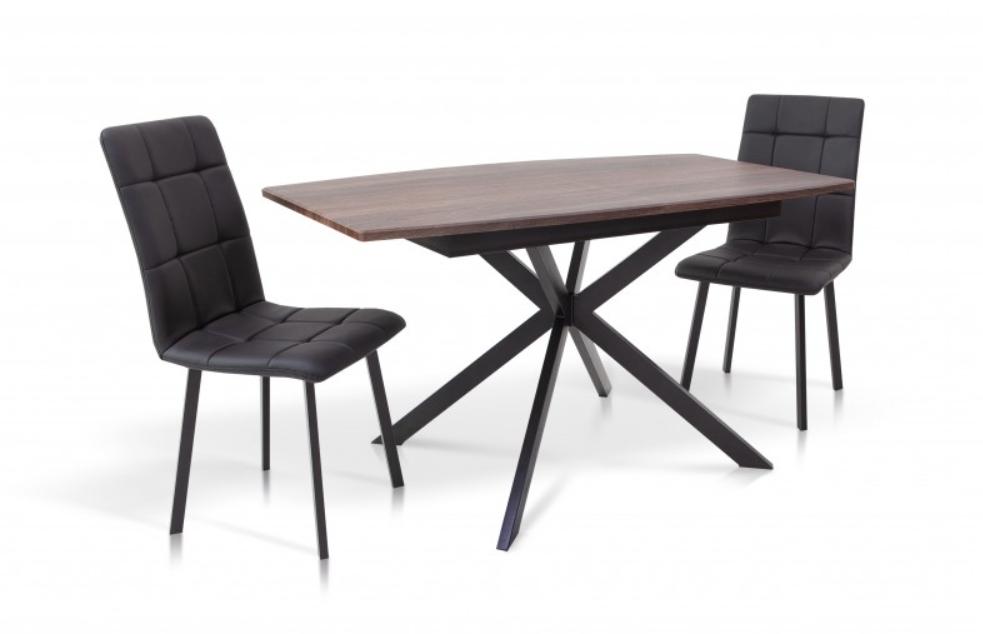 Стол обеденный -Ричард 1400(+400)*850 (черный /орех)