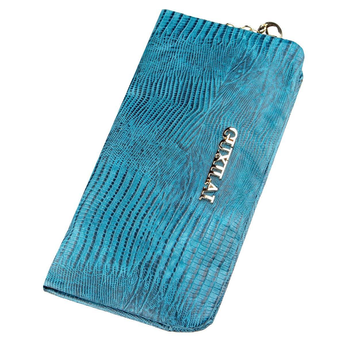 Кошелек женский кожаный с тиснением Guxilai 18966 Синий
