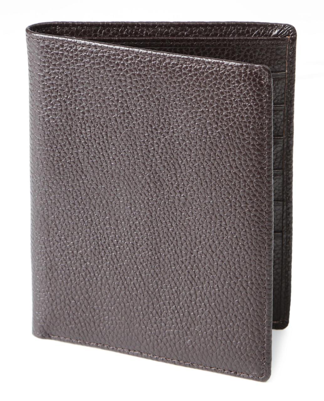 Гаманець SHVIGEL 13832 шкіряний з відділеннями для паспортів Коричневий