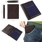 Гаманець SHVIGEL 13832 шкіряний з відділеннями для паспортів Коричневий, фото 5