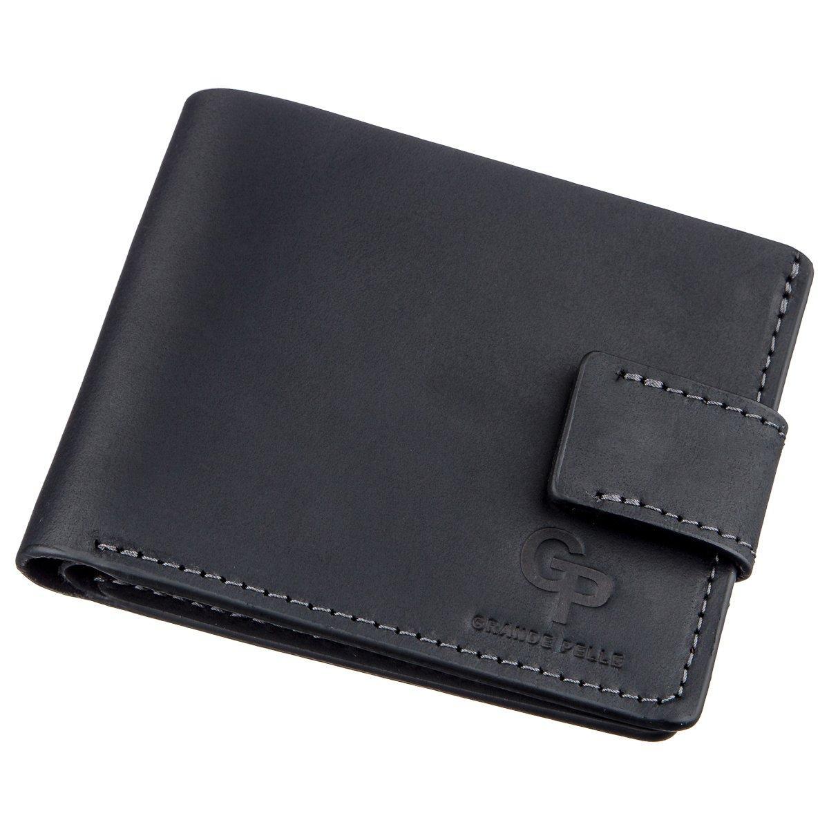 Тонке шкіряне портмоне унісекс GRANDE PELLE 11219 Чорне